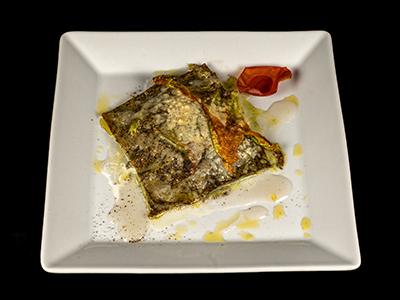 Lasagne Grano Saraceno mozzarella diu Bufala Campana e fiori di zucchine